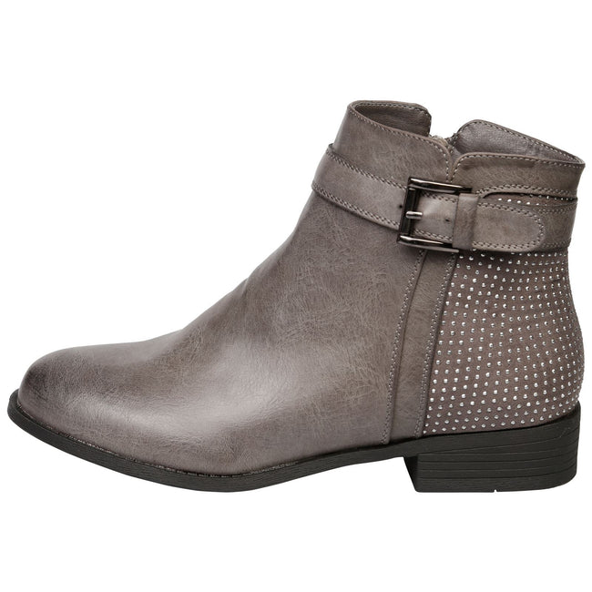Amirah Diamante Ankle Boots in Grey - Feet First Fashion