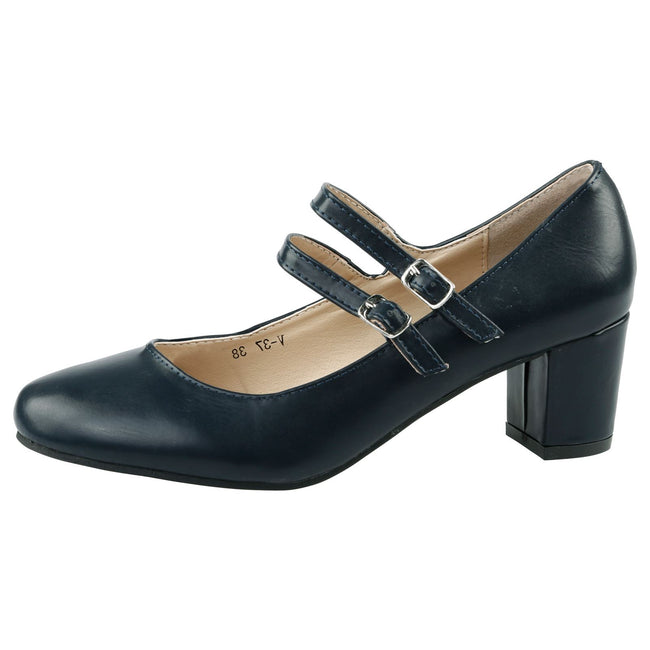 Penny Dual Strap Mary Janes in Navy Blue Faux Leather