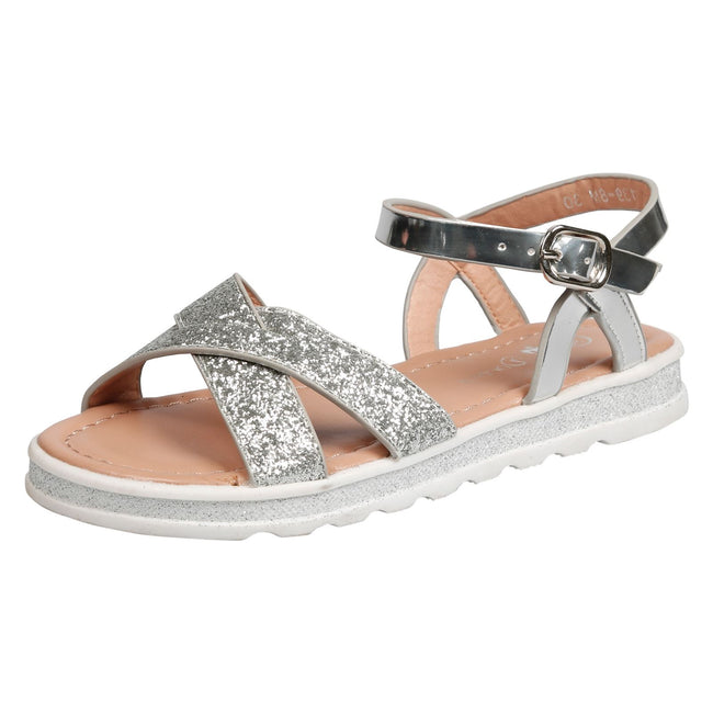 Bernice Girls Metallic Glitter Sandals in Silver - Feet First Fashion