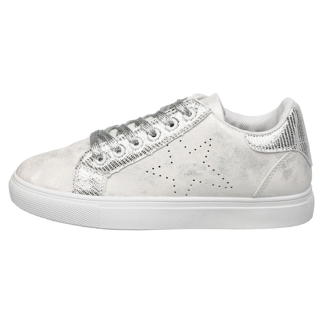 Drake Star Shimmer Trainers in White & Silver