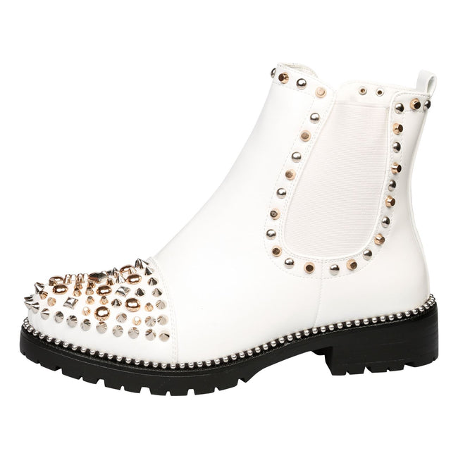 Treasure Studded Elasticated Ankle Boots in White