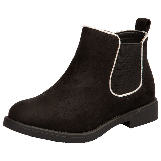 Serlena Girls Chelsea Ankle Boots in Black Faux Suede - Feet First Fashion