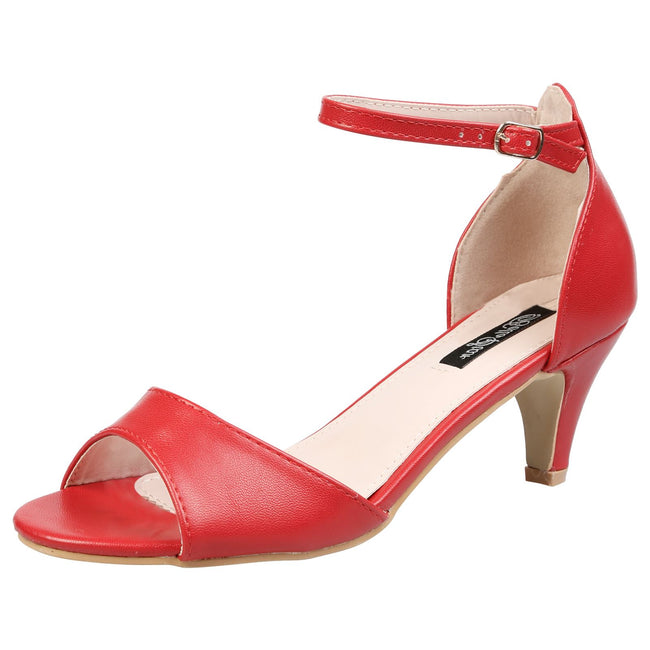 Laurie Low Heel Ankle Strap Sandals in Red Faux Leather