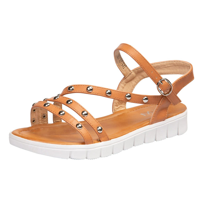 Violet Studded Sandals in Camel Faux Leather - Feet First Fashion