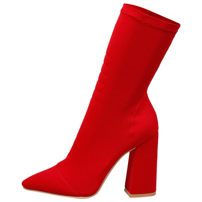 Monroe Pointed Toe Ankle Boots in Red - Feet First Fashion