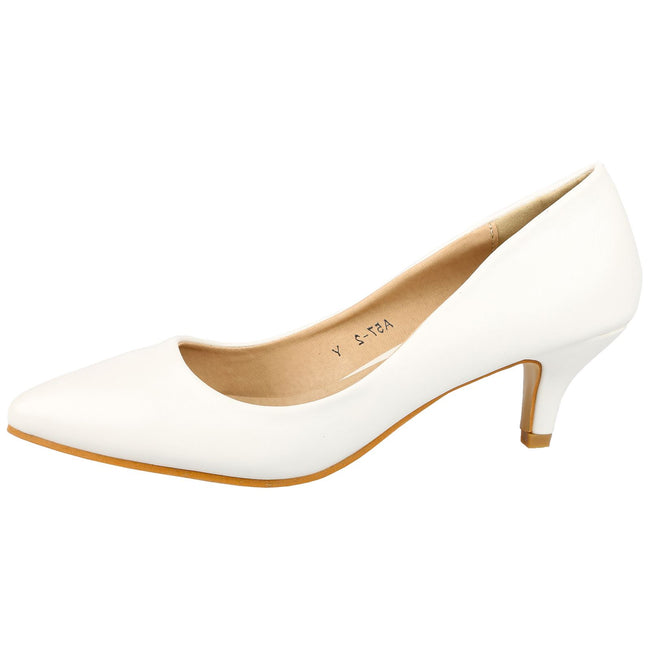 Miranda Kitten Heel Pointed Toe Court Shoes in White Faux Leather