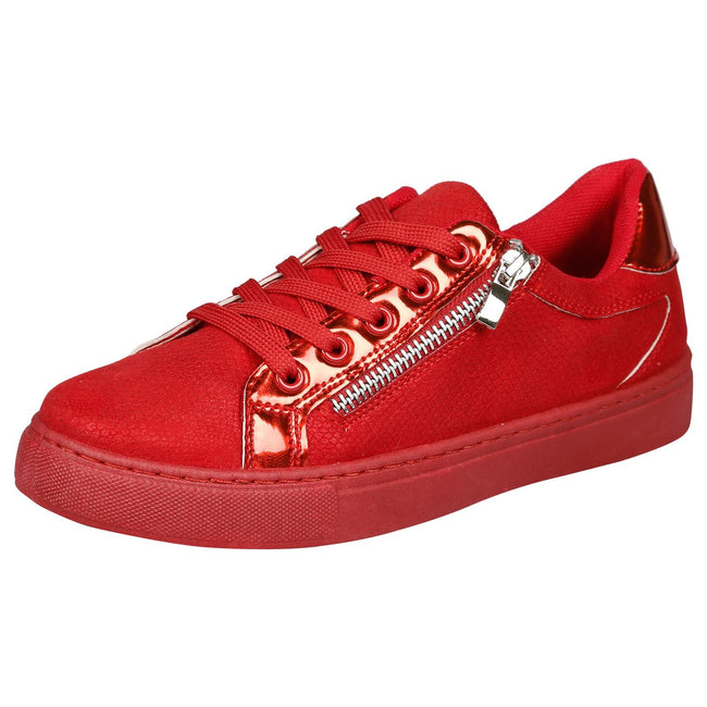 Raizel Metallic & Zip Detail Skater Pumps in Red