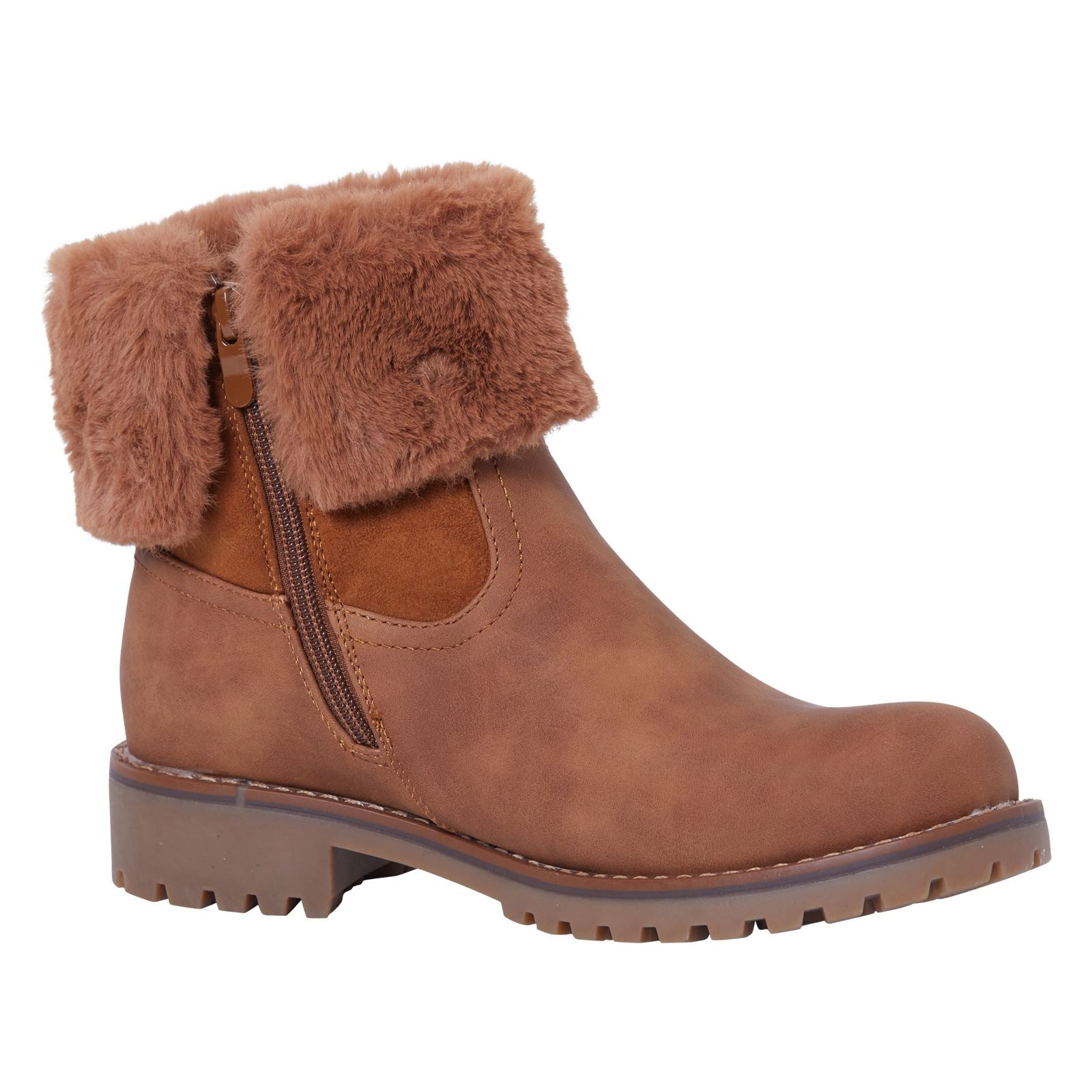 Annalee Fur Lined Ankle Boots in Camel Nubuck