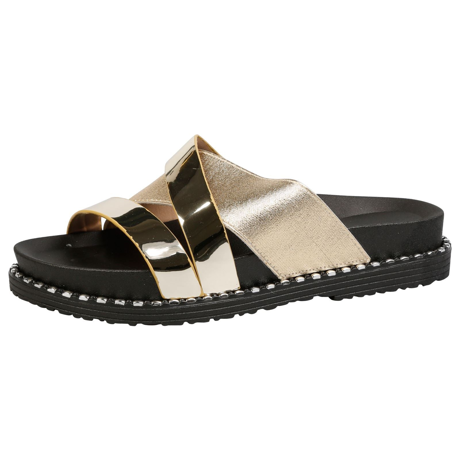 Tayler Two Tone Sliders in Gold