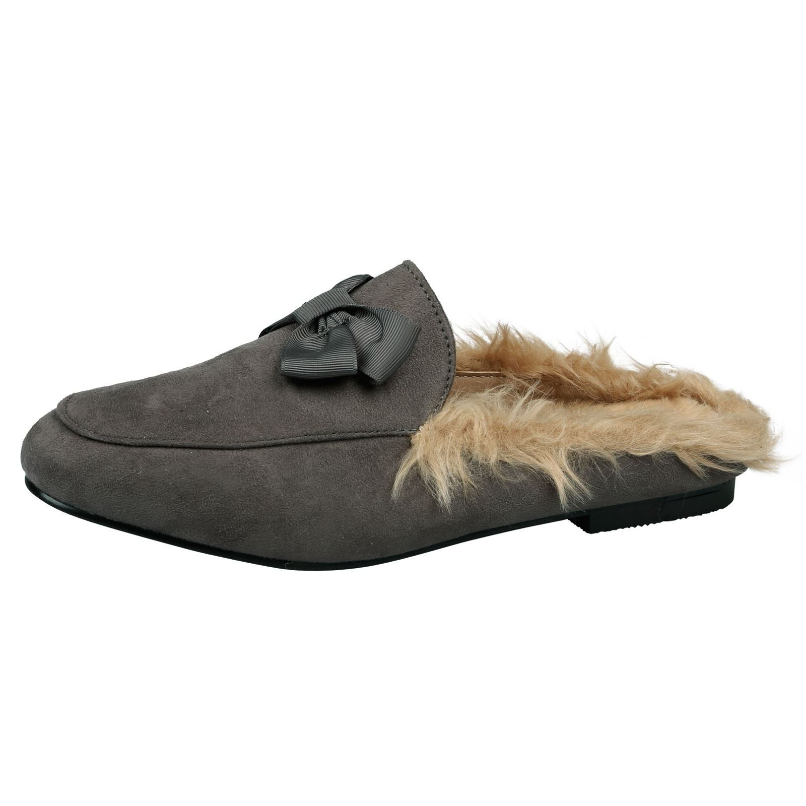 Dorothy Backless Loafers with Fur in Grey Faux Suede