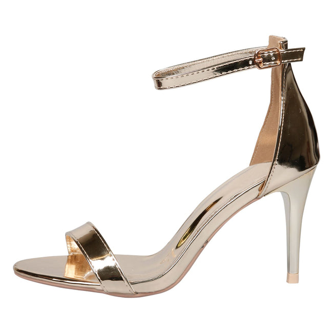 Ellen Stiletto Heel Ankle Strap Sandals in Gold Patent