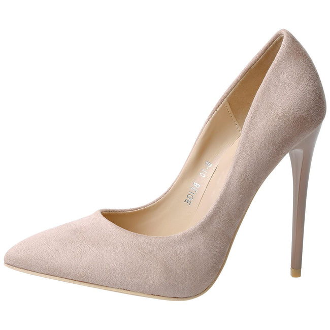 Danita Stiletto Heel Court Shoes in Beige Nude Faux Suede