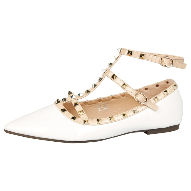 Michaela Studded Ankle Strap Flats in White Patent