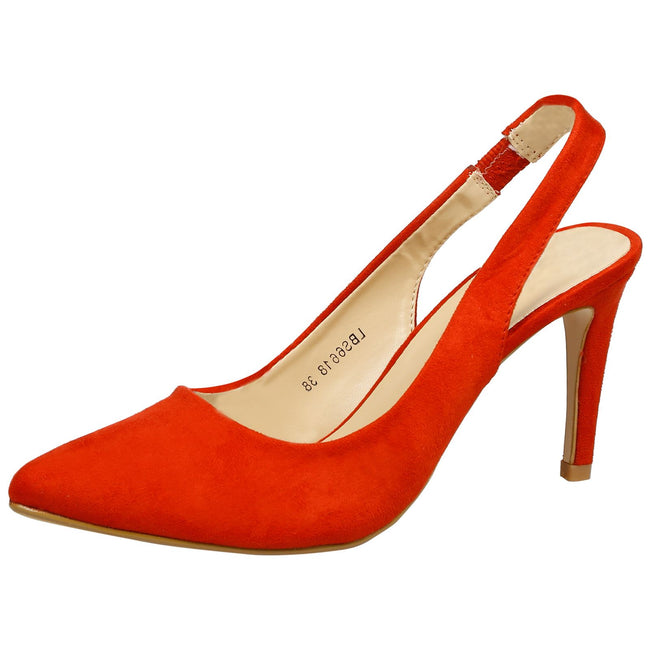 Prudence Slingback Pumps in Red Faux Suede