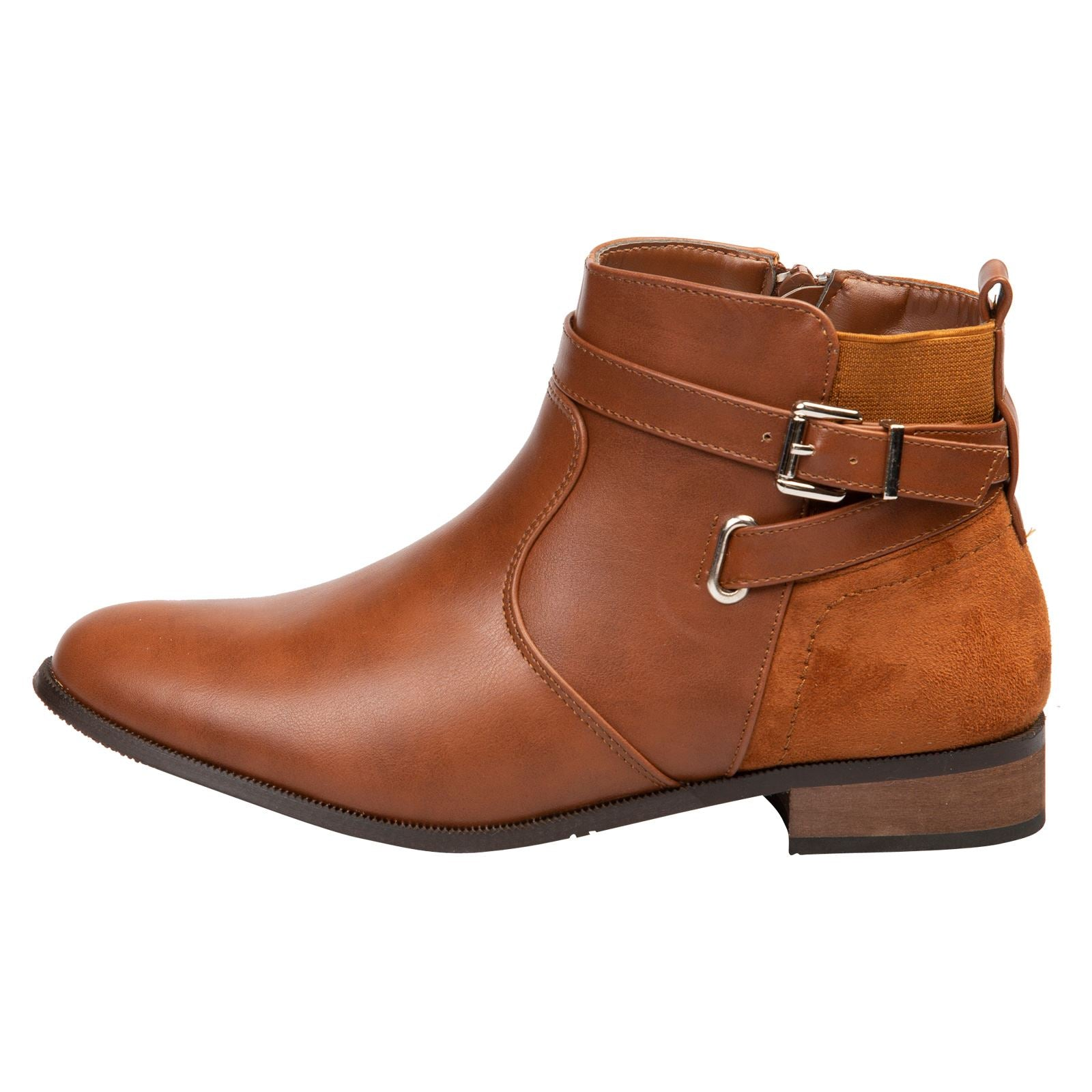 Jasmine Two-Tone Ankle Boots in Camel - Feet First Fashion