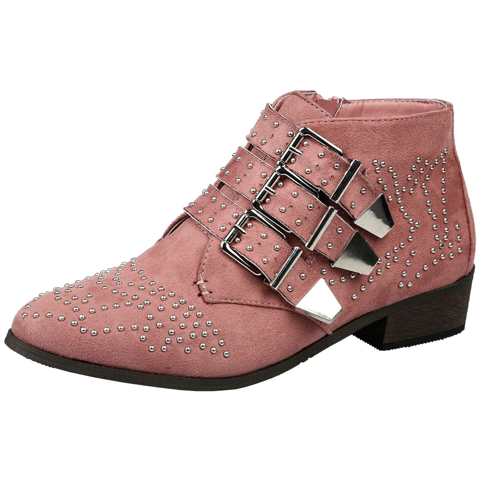 Liv Womens Studded Biker Ankle Boots in Pink Faux Suede