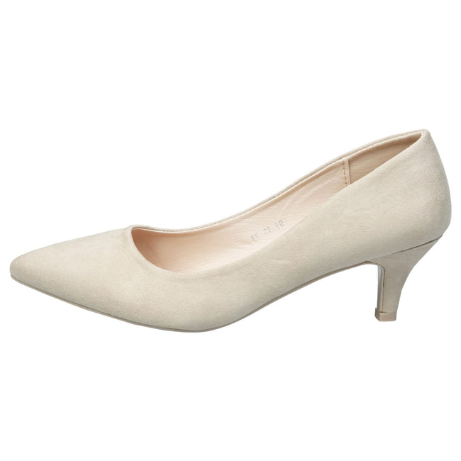 Miranda Kitten Heel Pointed Toe Court Shoes in Beige Faux Suede