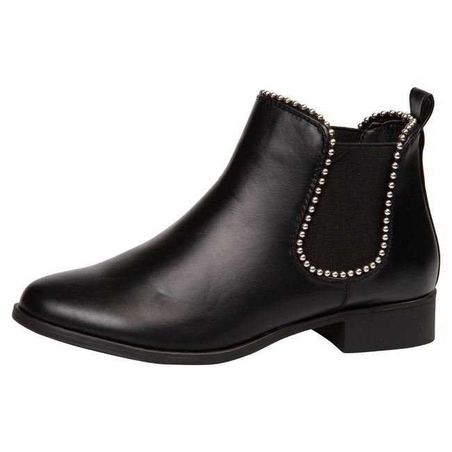 Judith Chelsea Ankle Boots in Black Faux Leather - Feet First Fashion
