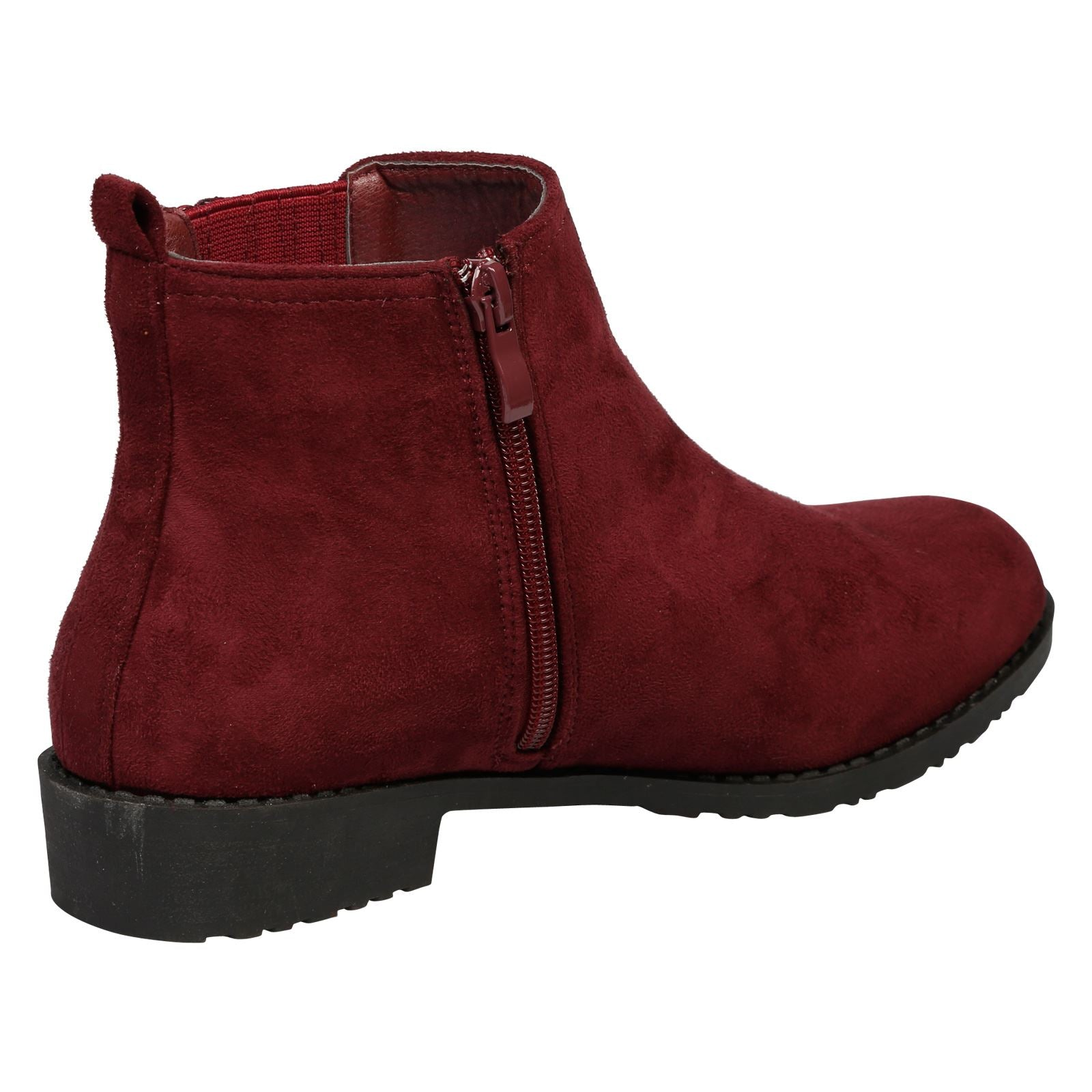 Cara Low Heel Ankle Boots in Wine Faux Suede - Feet First Fashion