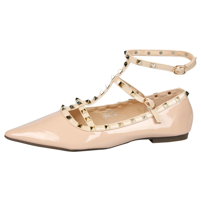 Michaela Studded Ankle Strap Flats in Nude Patent