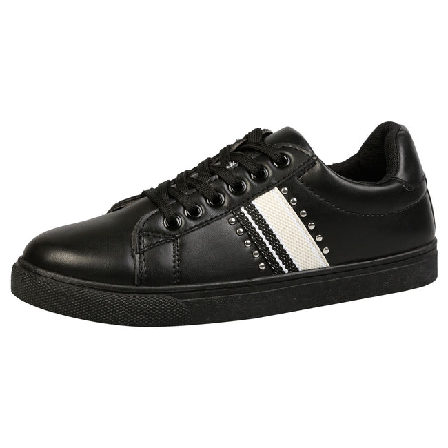 Verity Leather Look Stripe Trainers in Black