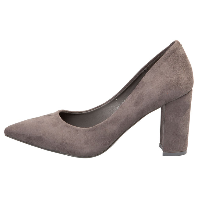 Connie Block Heel Court Shoes in Grey Faux Suede