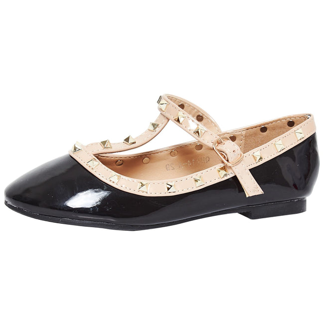 Marleigh Girls Studded T-Strap Flat Shoes in Black Patent - Feet First Fashion