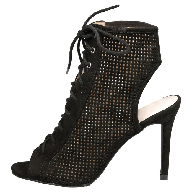 Branwen Lace Up Peep Toe Ankle Boots in Black Faux Suede