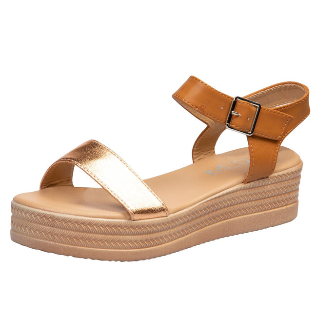 Eliana Flatform Sandals in Camel / Copper Faux Leather