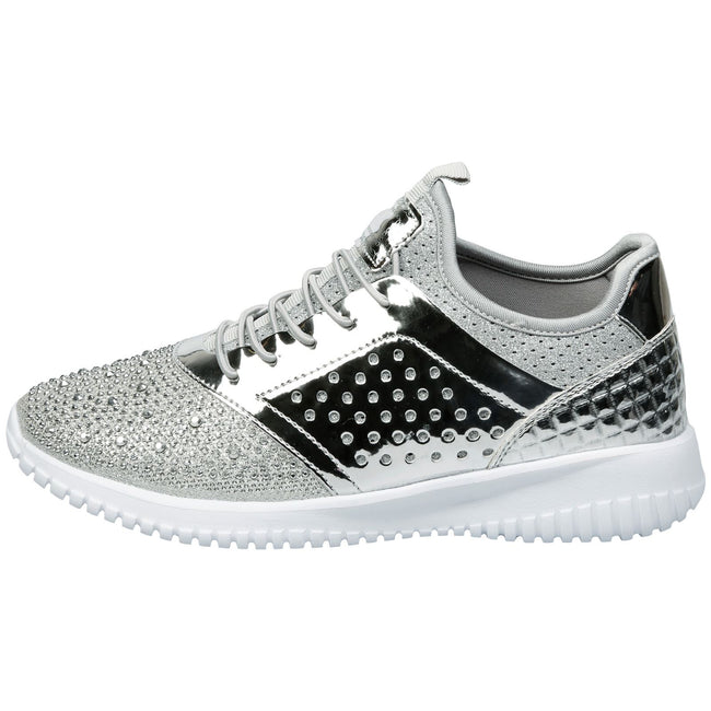 Ambrose Elasticated Diamante Trainers in Silver