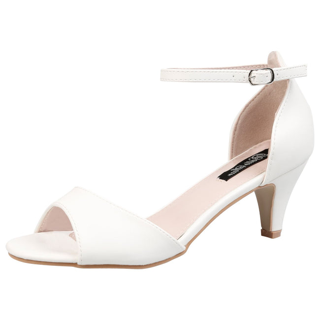 Laurie Low Heel Ankle Strap Sandals in White Faux Leather