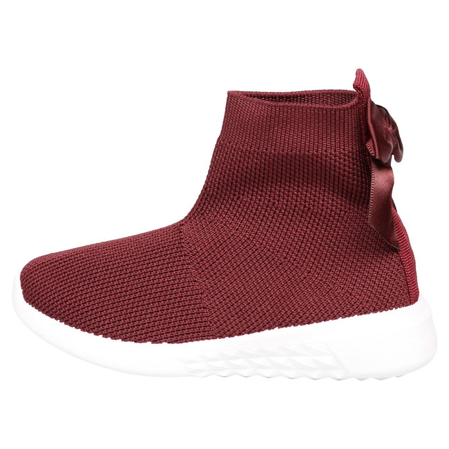 Amia Girls Knit Trainer Boots in Wine Red - Feet First Fashion