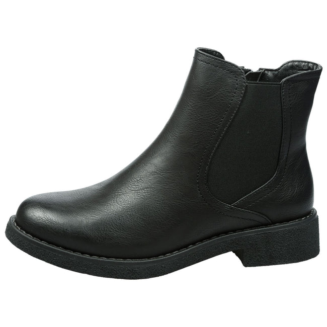 Soraya Classic Chelsea Ankle Boots in Black Faux Leather