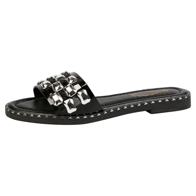 Nya Jewelled Sliders in Black Faux Leather
