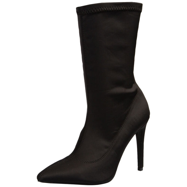 Sawyer Stiletto Ankle Boots in Black Lycra