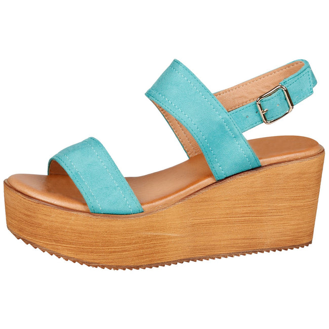 Darby Womens Platform Wedge Sandals in Blue Faux Suede