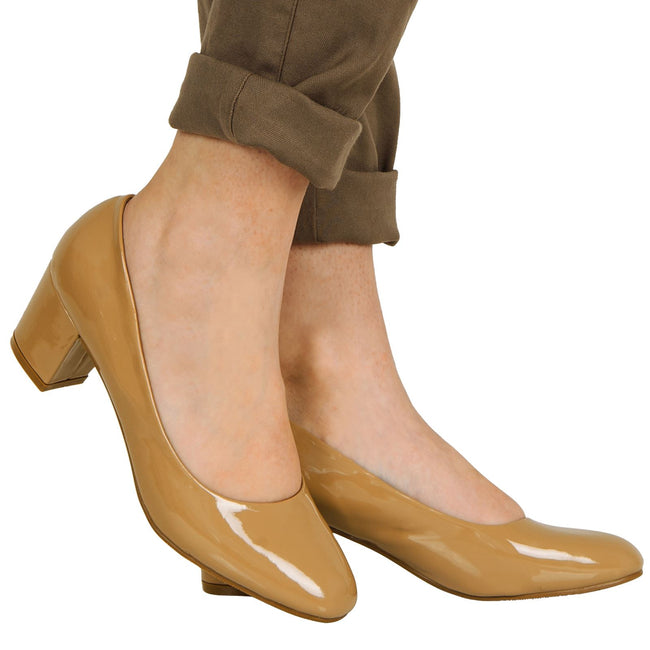 Yvonne Classic Block Heel Court Shoes in Khaki Tan Patent