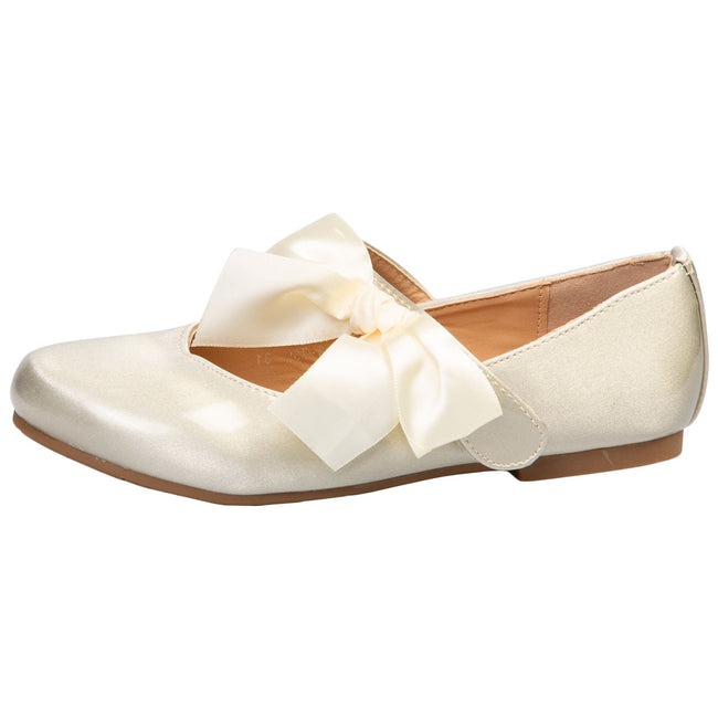 Zaniyah Girls Bow Detail Mary Janes in Gold Patent - Feet First Fashion