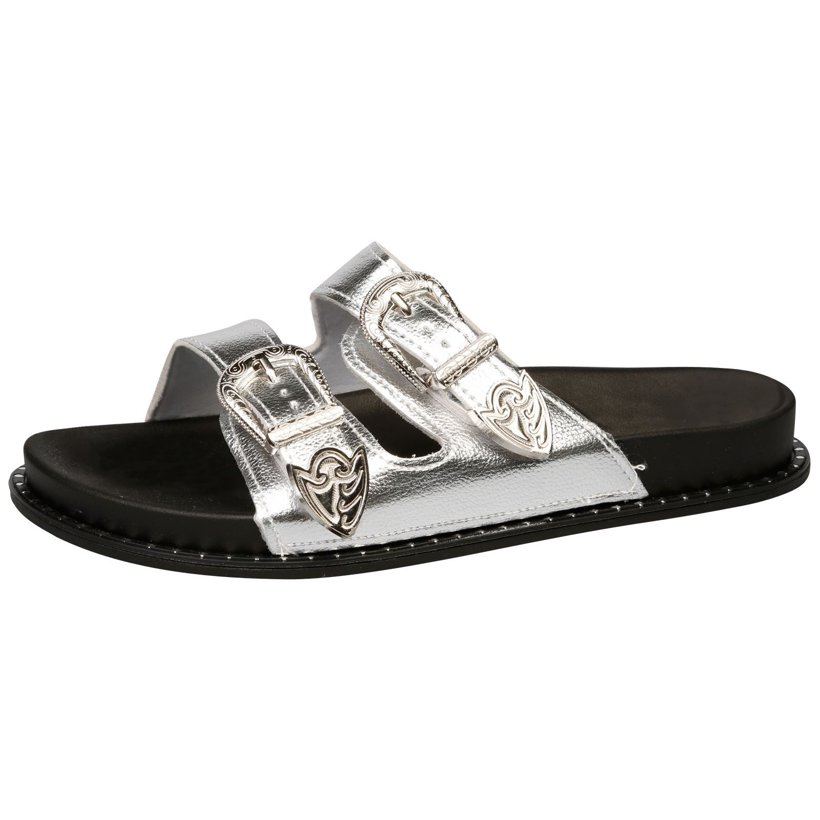 Harmoni Buckle Detail Flat Sandals in Silver - Feet First Fashion