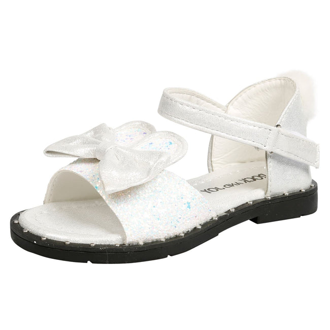 Kyra Girls Glitter Bunny Ear Pom Pom Sandals in White - Feet First Fashion