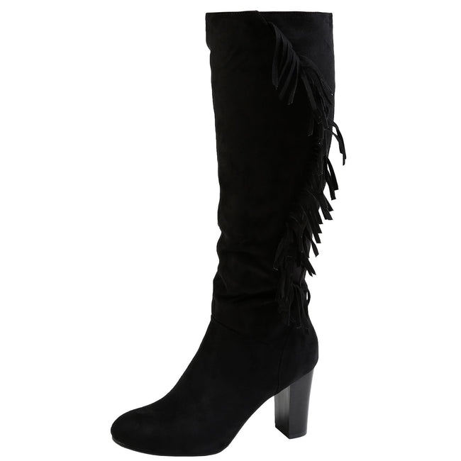 Kayla Fringed Under Knee Boots in Black Faux Suede