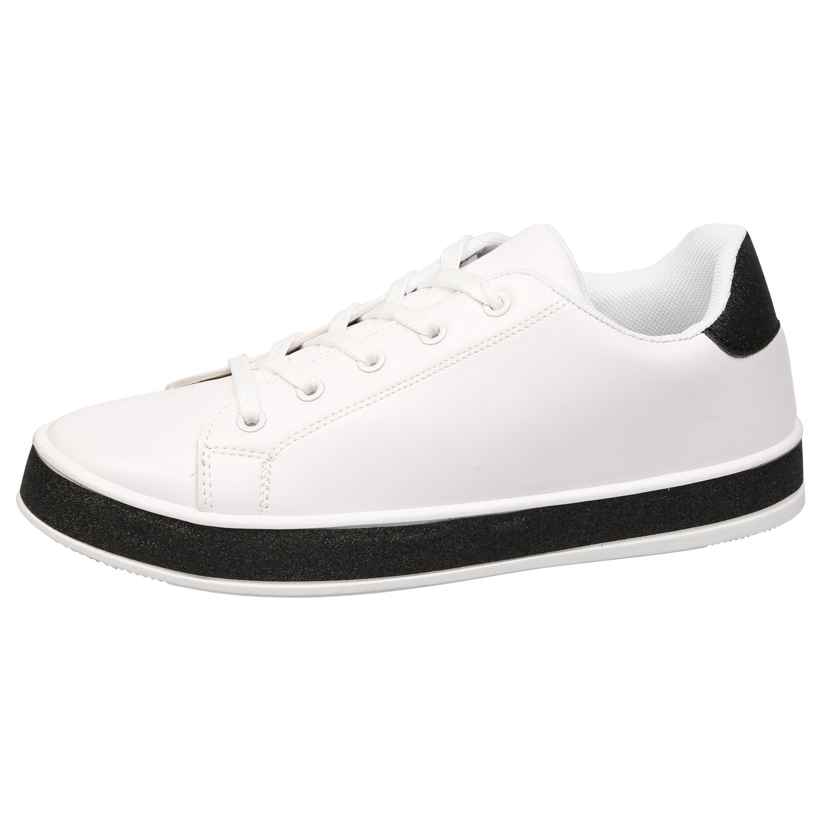 Koko Leather Look Skater Pumps in White with Black Glitter