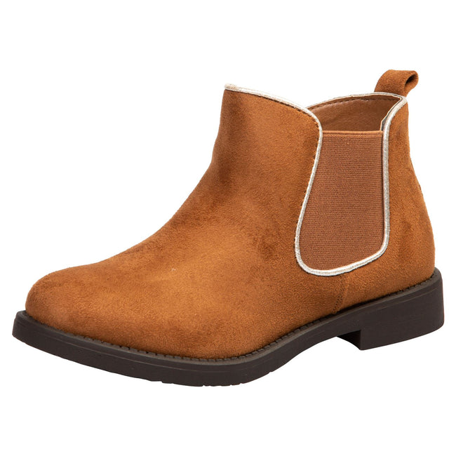 Serlena Girls Chelsea Ankle Boots in Camel Faux Suede - Feet First Fashion