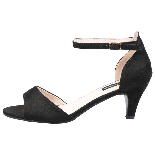 Laurie Low Heel Ankle Strap Sandals in Black Faux Suede
