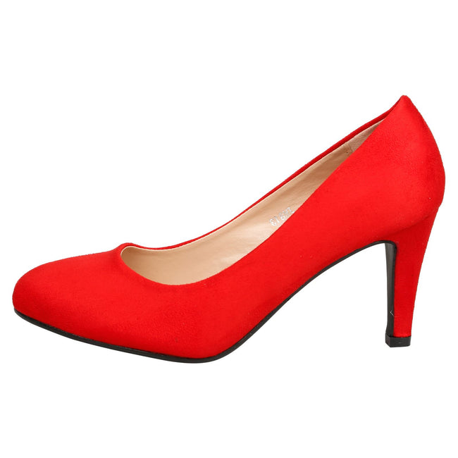 Amiya Slim Heeled Shoes in Red Faux Suede - Feet First Fashion
