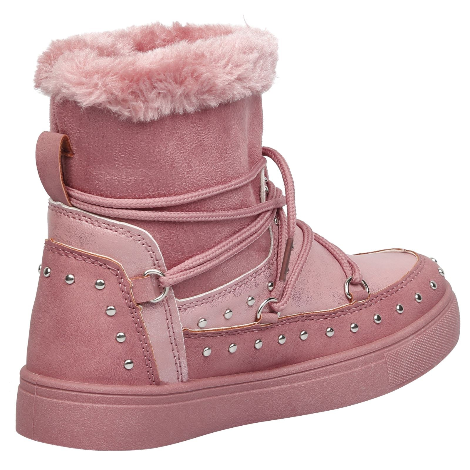 Cecilia Girls Fur Lined Boots in Pink - Feet First Fashion
