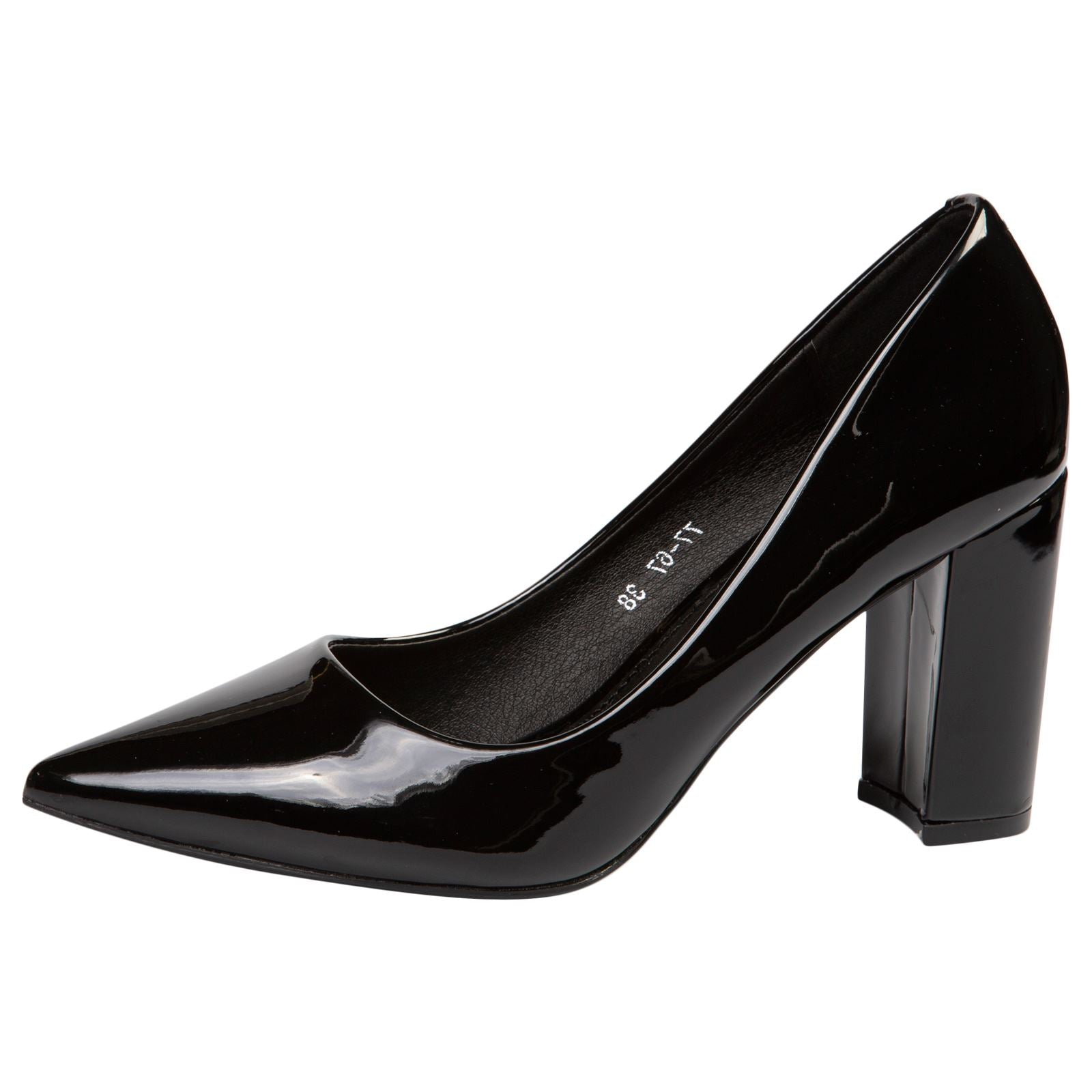 Connie Block Heel Court Shoes in Black Patent