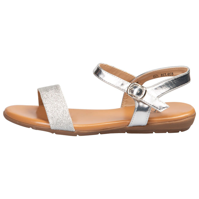 Lucy Flat Glitter Sandals in Silver