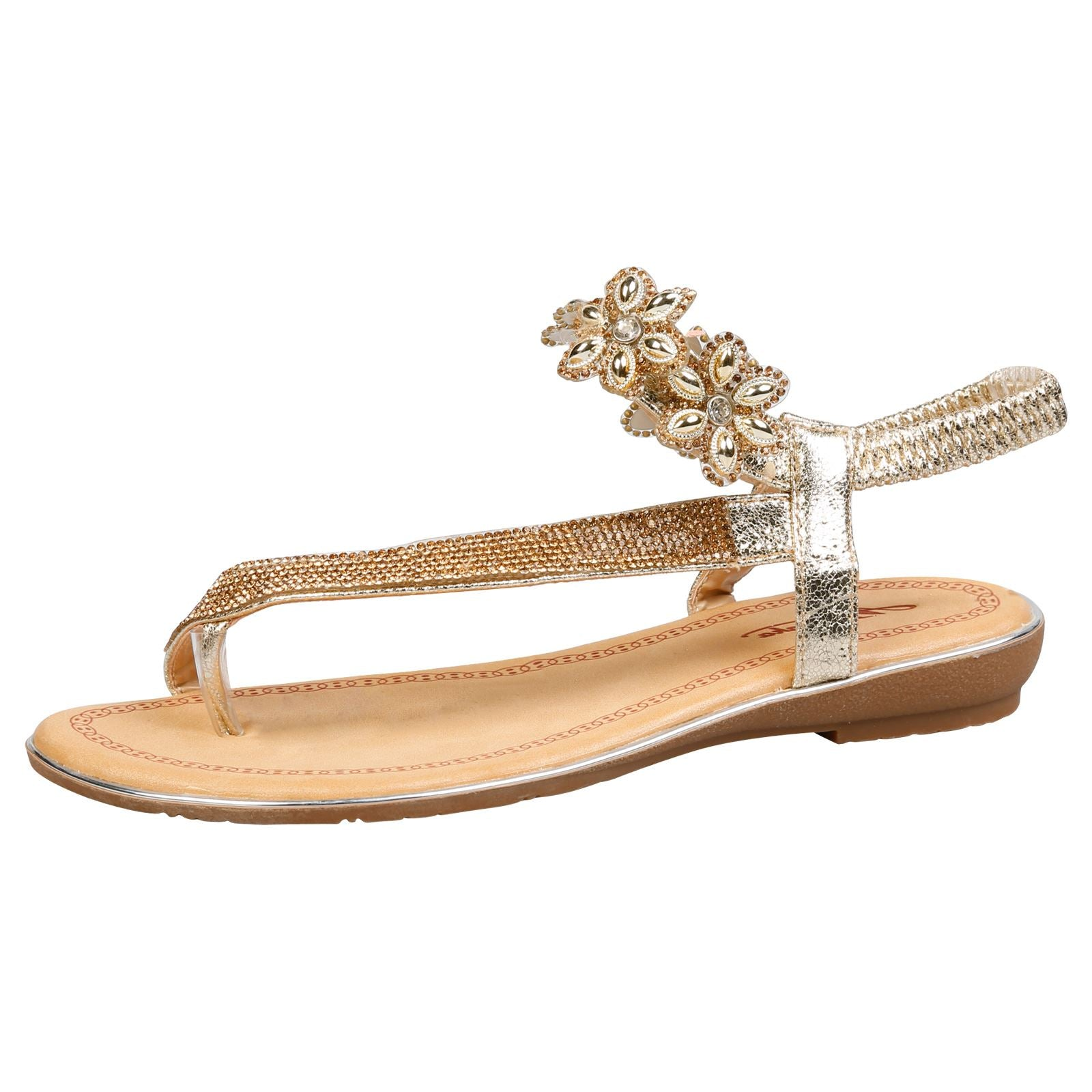 Celine Floral Diamante Sandals in Gold