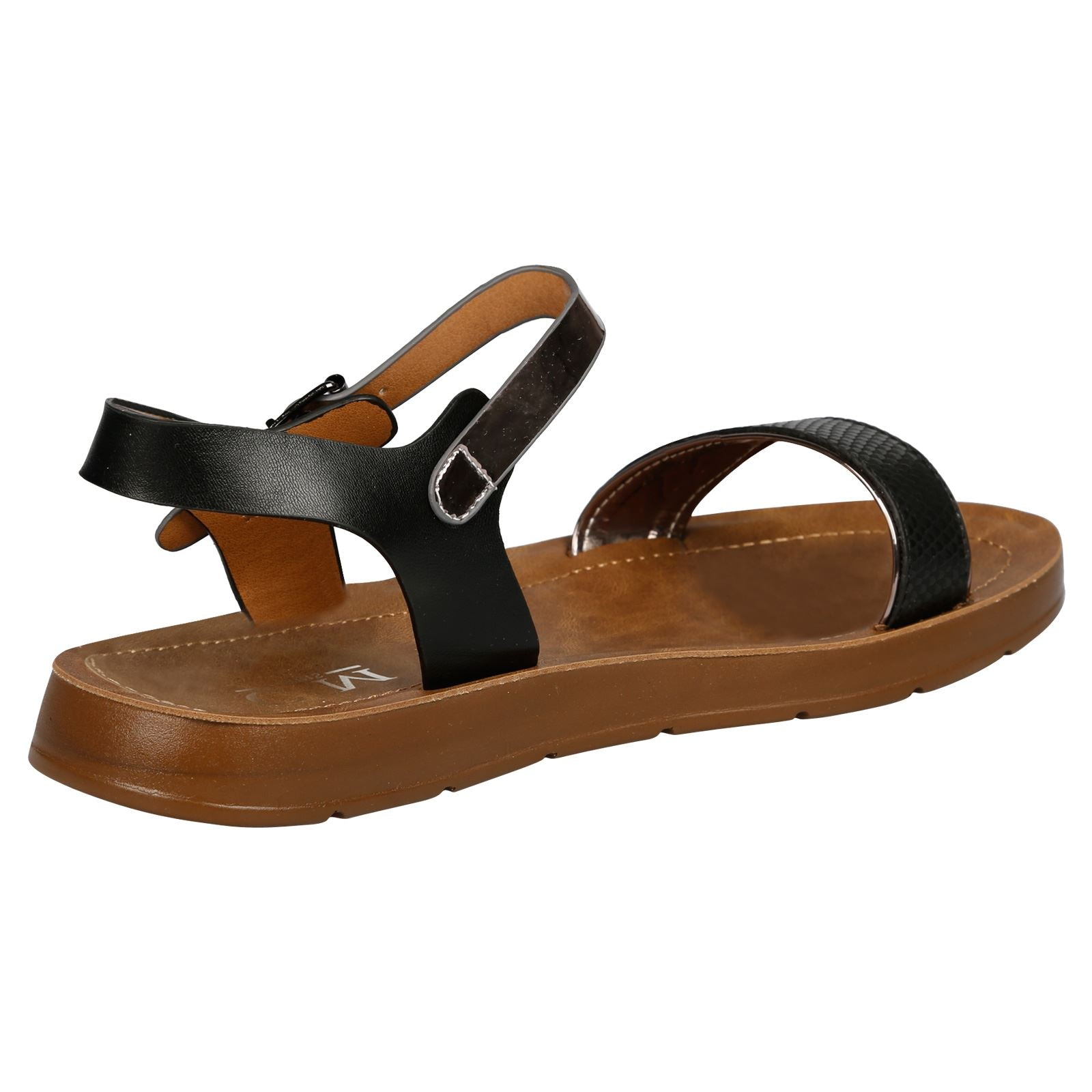 Joselyen Two Tone Footbed Sandals in Black